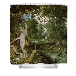 The Garden Of Eden With The Fall Of Man Shower Curtain by Jan Brueghel and Rubens