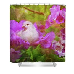 The Garden Of White Dove Shower Curtain