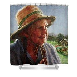 The Gardener Shower Curtain by Janet McGrath