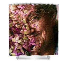The Gardener Shower Curtain by Jean OKeeffe Macro Abundance Art