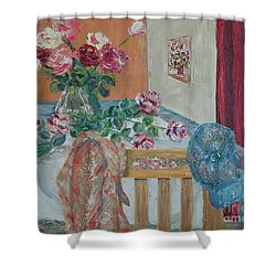 The Gardener's Table Shower Curtain by Judith Espinoza