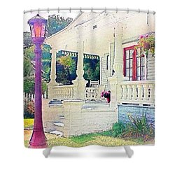 The Gate Porch And The Lamp Post Shower Curtain by Becky Lupe