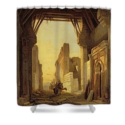The Gates Of El Geber In Morocco Shower Curtain by Francois Antoine Bossuet