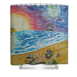 Shower Curtain featuring the painting The Gathering by Thomasina Durkay