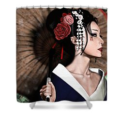 The Geisha Shower Curtain by Pete Tapang
