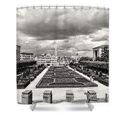 The Geometric Garden In Black And White Shower Curtain