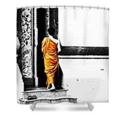 Shower Curtain featuring the photograph The Gilded Monk by Cameron Wood