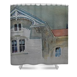 Shower Curtain featuring the painting the Ginger Bread House by Len Stomski