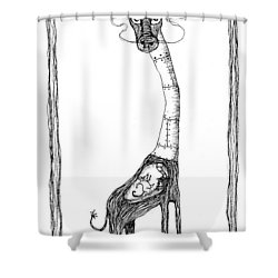The Giraffe And The Rat Shower Curtain by Zelde Grimm