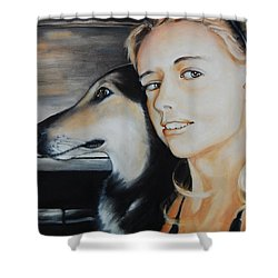 The Girl And Her Dog  Shower Curtain