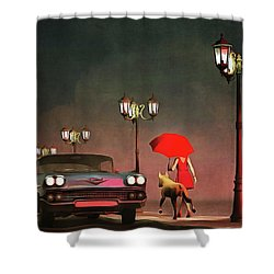 The Girl In Red Shower Curtain