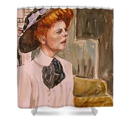 The Girl In The Movies Shower Curtain by P Maure Bausch