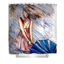 The Girl With A Blue Umbrella Shower Curtain
