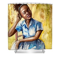 The Girl With The Blue Dress Shower Curtain