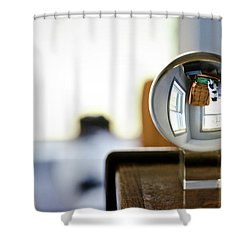 The Globe With Dog Shower Curtain