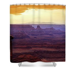 Shower Curtain featuring the photograph The Gold Light Of Dawn by Marie Leslie