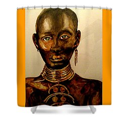 Shower Curtain featuring the painting The Golden Black by Yolanda Rodriguez