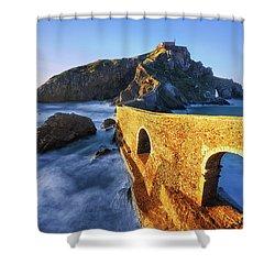 The Golden Bridge Shower Curtain