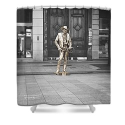 Shower Curtain featuring the photograph The Golden Cowboy by Stwayne Keubrick