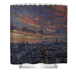 Shower Curtain featuring the painting The Golden Hour Maastricht by Nop Briex
