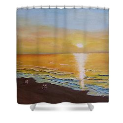 The Golden Ocean Shower Curtain