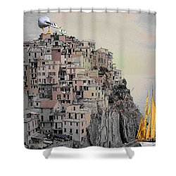 The Golden Sails Shower Curtain