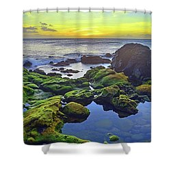 Shower Curtain featuring the photograph The Golden Skies Of Molokai by Tara Turner