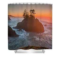 Shower Curtain featuring the photograph The Golden Sunset Of Oregon Coast by William Lee