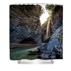 The Golden Waterfall Shower Curtain