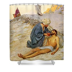 The Good Samaritan Shower Curtain by William Henry Margetson