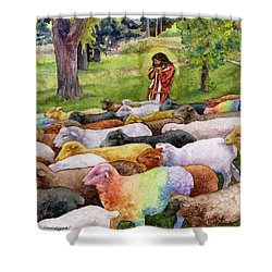 Shower Curtain featuring the painting The Good Shepherd by Anne Gifford