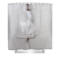 Shower Curtain featuring the drawing The Grace Of The Dance by Jarko Aka Lui Grande