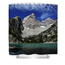 The Grand And Mount Owen From Delta Lake Shower Curtain by Raymond Salani III