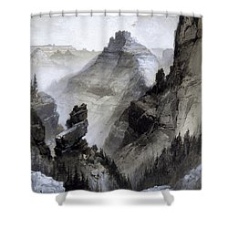 Shower Curtain featuring the drawing The Grand Canyon Drawing            by Thomas Moran