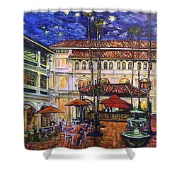 The Grand Dame's Courtyard Cafe  Shower Curtain by Belinda Low