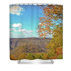 Shower Curtain featuring the photograph The Grand Finale - Autumn At Pipestem State Park by Kerri Farley