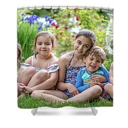 The Grand Kids In The Garden Shower Curtain