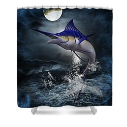The Great Blue Marlin Shower Curtain