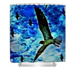 Shower Curtain featuring the painting The Great Seagull by Joan Reese