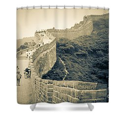 Shower Curtain featuring the photograph The Great Wall Of China by Heiko Koehrer-Wagner