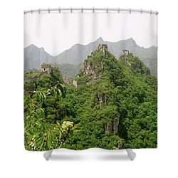 The Great Wall Of China Winding Over Mountains Shower Curtain