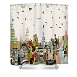 The Great Wondrous Balloon Race Shower Curtain