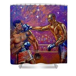 the Greatest  Muhammed Ali vs Jack Johnson Shower Curtain by Tommy  Winn
