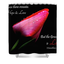 The Greatest Of These Is Love Shower Curtain by Trina Ansel
