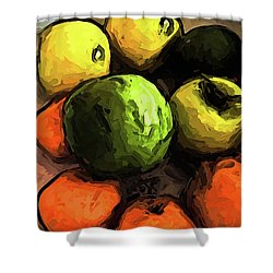 The Green And Gold Apples With The Orange Mandarins Shower Curtain