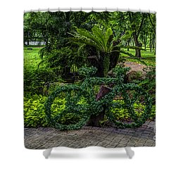 The Green Bicycle Shower Curtain