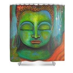 The Green Buddha Shower Curtain by Prerna Poojara