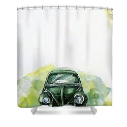 The Green Car Shower Curtain