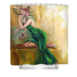 The Green Charmeuse  Shower Curtain by Jennifer Beaudet
