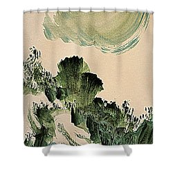 The Green Cliffs With A Cloud Shower Curtain